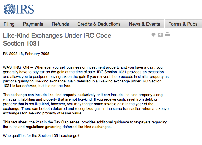 Like-Kind Exchanges Under IRC Code Section 1031